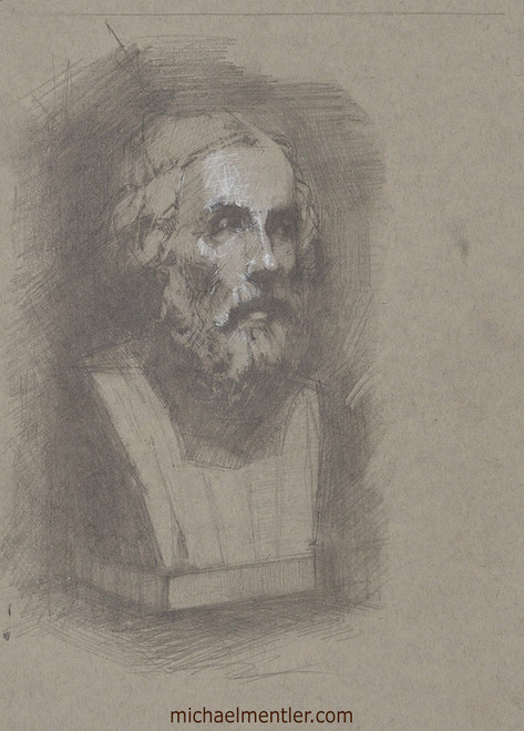 Male Portrait CLXXIII (Cast Study) by Michael Mentler, Dry Media on Paper, 8.5 by 12 inch
