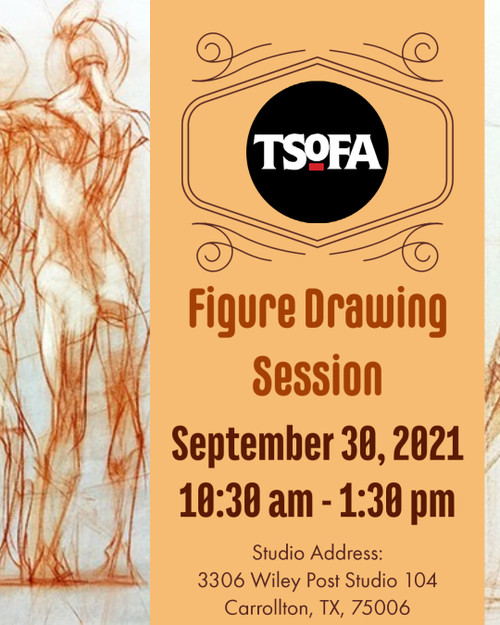 Pass to a single uninstructed figure drawing session at TSOFA on September 30, 2021.