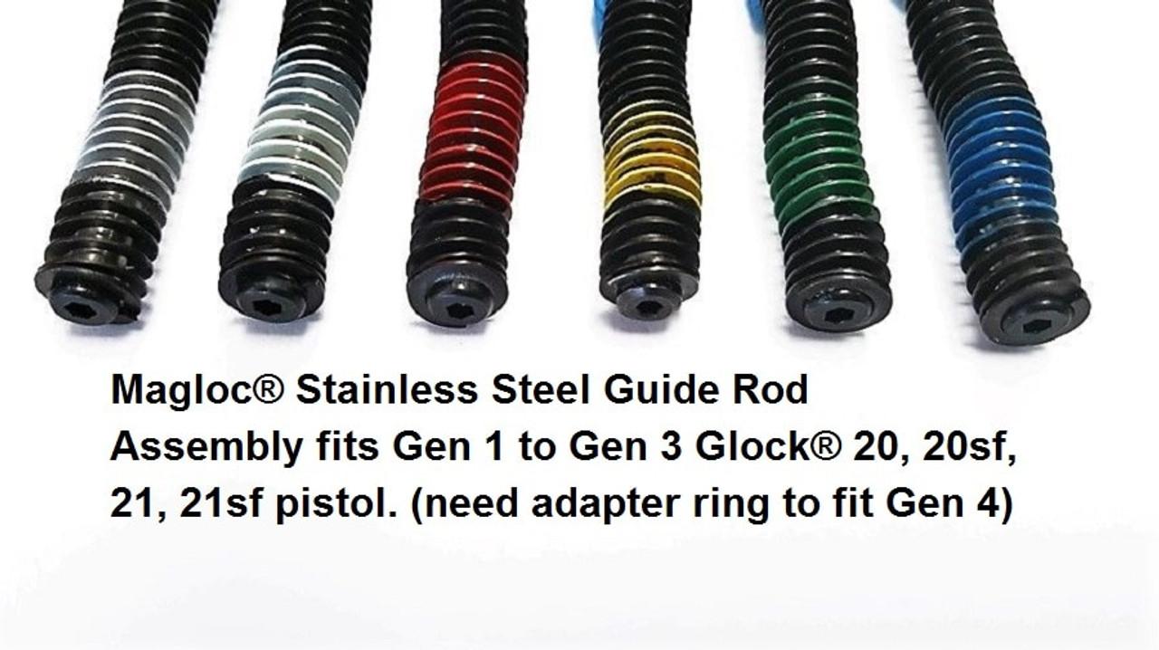 MaglocStainless Steel Guide Rod Assemblyfits Gen 1 to Gen 3Glock 20 pistol  C blueSKU 1392 (need adapter ring to fit Gen 4)