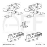 Fitting set No. K.080.4.1.S for wood door w/ soft stoppers & standard mounting suspension plate up to 80kg/176lbs