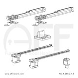 Fitting set Classic No. K.080.2.1.S for wood door /w soft closing & standard mounting suspension plate up to 80kg/176lbs