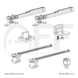 Fitting set Classic No. K.080.2.1.C for wood door /w soft closing & standard mounting suspension plate up to 80kg/176lbs