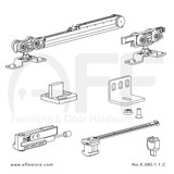Fitting set Classic No. K.080.1.1.C for wood door /w one Fluid soft closing & one Fluid damper / standard mounting suspension plate up to 80kg/176lbs