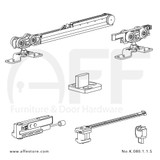 Fitting set Classic No. K.080.1.1.S for wood door /w one Fluid soft closing & one Fluid damper / standard mounting suspension plate up to 80kg/176lbs