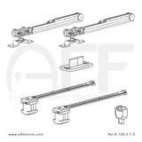 Fitting set Classic No. K.120.2.1.S for wood door /w soft closing & standard mounting suspension plate up to 120kg/264lbs