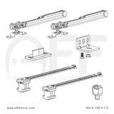 Fitting set Classic No. K.120.2.1.C for wood door with soft closing & standard mounting suspension plate up to 120kg/264lbs