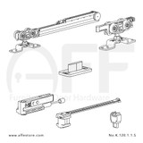Fitting set Classic No. K.120.1.1.S for wood door /w one Fluid soft closing & one Fluid damper / standard mounting suspension plate up to 120kg/264lbs