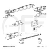 Fitting set Classic No. K.120.1.1.C for wood door /w one Fluid soft closing & one Fluid damper / standard mounting suspension plate up to 120kg/264lbs