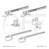 Fitting set Classic No. K.030.6.1.C for wood door with soft closing on both sides & standard mounting suspension plate up to 30kg/66lbs