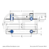 Accurate No. 04 Transom Bolt for Double Doors -  Dimensions