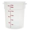 Translucent Round Polycarbonate Food Storage Container w/ Red Gradations - 22 Qt (PLRFT322TL)