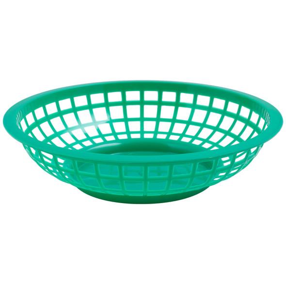 "PLBK008G Green  8"" x 2"" Round Plastic Fast Food Basket"