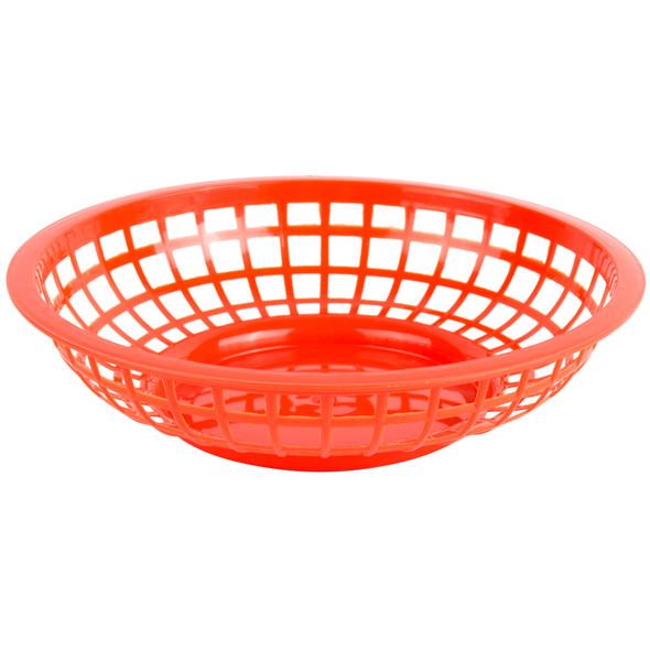 "PLBK008R Red  8"" x 2"" Round Plastic Fast Food Basket"