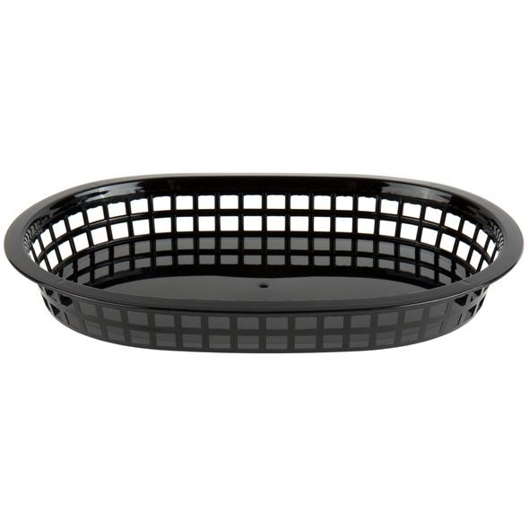 """PLBK1034K Black 11"""" x 7"""" Oblong Plastic Fast Food Basket"""