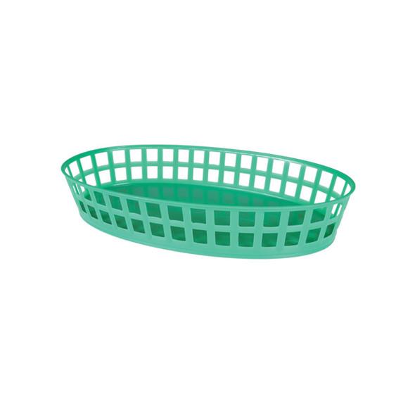 """PLBK912G Green 8"""" x 5"""" Oval Plastic Fast Food Basket"""