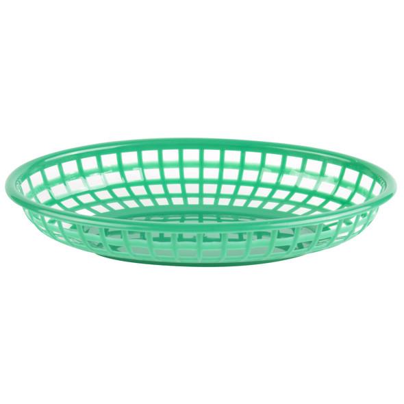 """PLBK938G Green 9.38"""" x 5.75"""" Oval Plastic Fast Food Basket"""