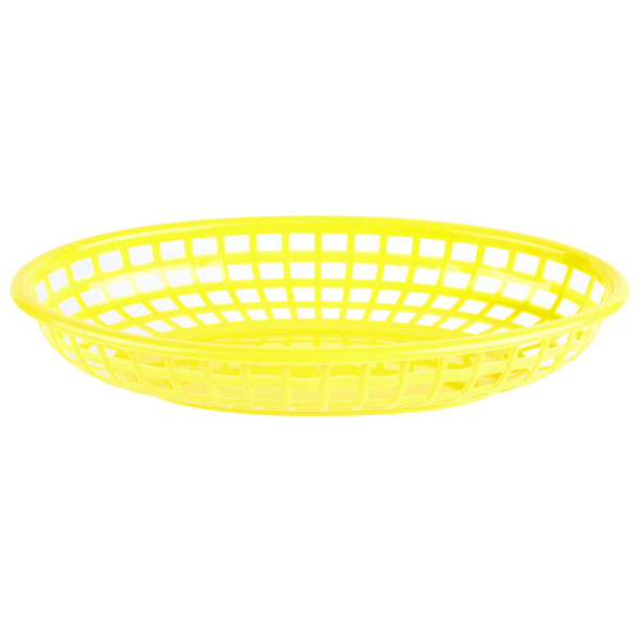 "PLBK938Y Yellow 9.38"" x 5.75"" Oval Plastic Fast Food Basket"