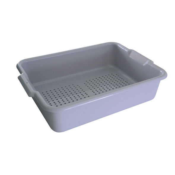 "20"" x 15"" x 5"" Polyethylene Perforated Bus Drain Box (PLBT505GPF Grey)"