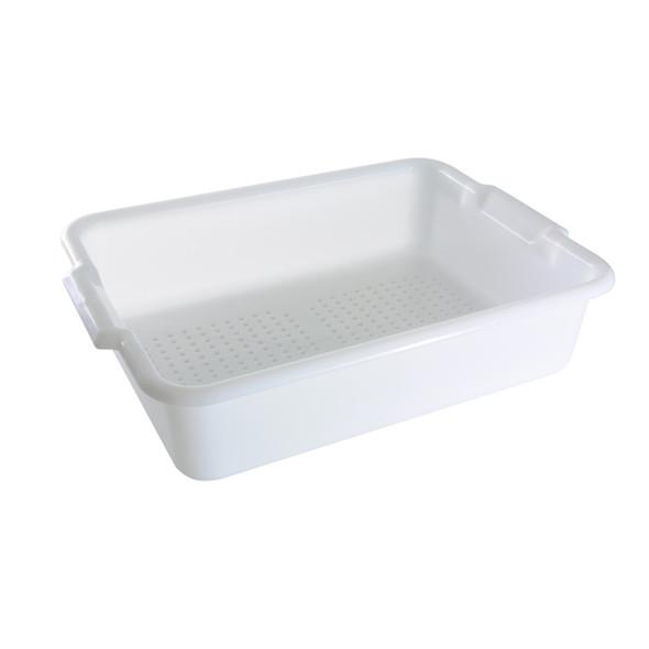 "20"" x 15"" x 5"" Polyethylene Perforated Bus Drain Box (PLBT505WPF White)"