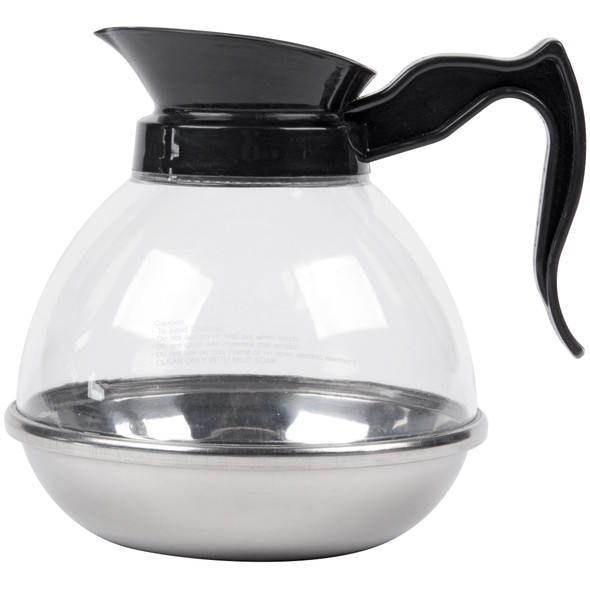 64 oz Polycarbonate Coffee Decanter With Stainless Steel Bottom - Black
