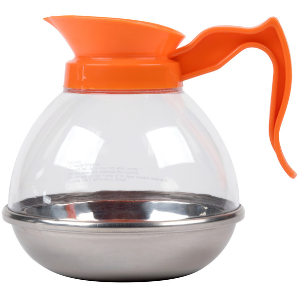 64 oz Polycarbonate Coffee Decanter With Stainless Steel Bottom - Orange