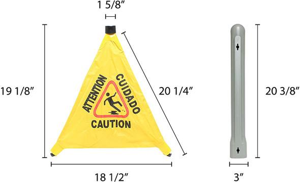 "19.5"" Pop-Up Safety Cone Wet Floor Signs w/ Storage Tube"