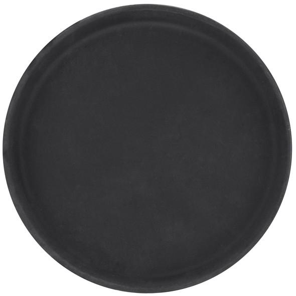 Round Fiberglass Non-Skid Serving Tray - Black