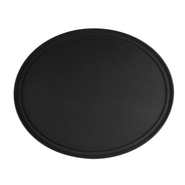 "22"" x 27"" Fiberglass Non-Skid Oval Serving Tray - Black"