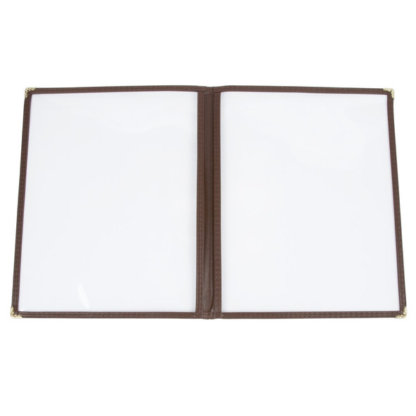 """8.5"""" x 11"""" Two Page, Single Fold, Menu Cover - Brown"""