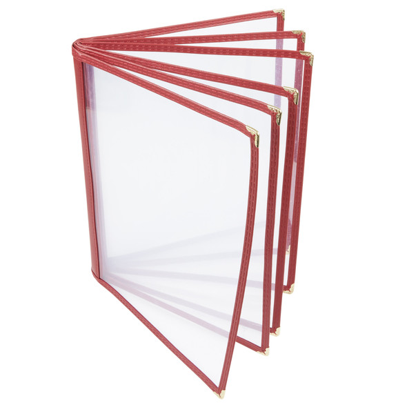"""8.5"""" x 11"""" 6 Page, Book Fold, Menu Cover - Maroon"""