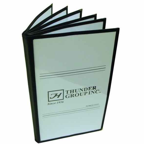 "7.5"" x 13.25"" 6 Page, Book Fold, Menu Cover - Black"