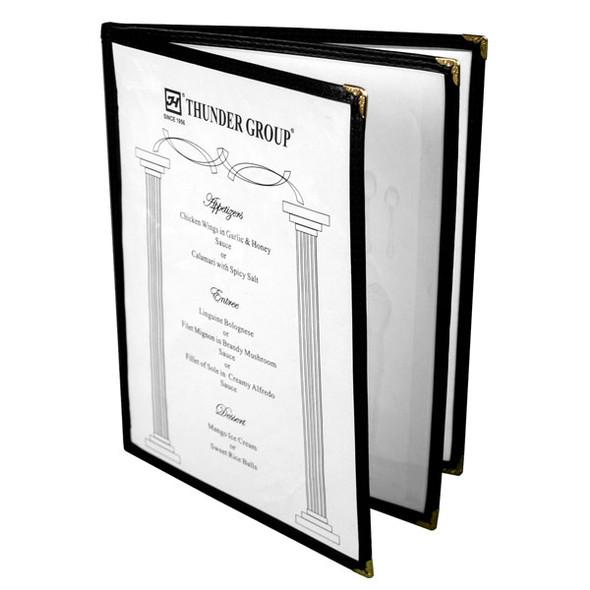 "8.5"" x 11"" Three Page, Book Fold, Menu Cover - Black"