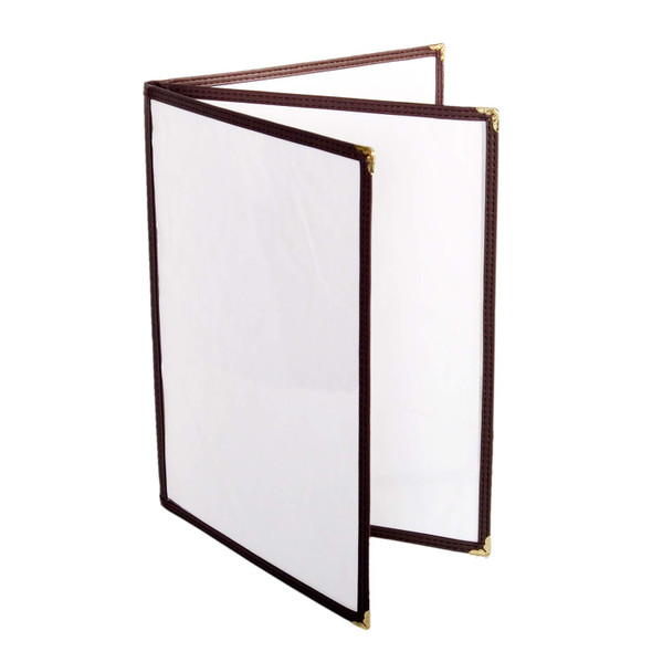 "8.5"" x 11"" Three Page, Book Fold, Menu Cover - Brown"
