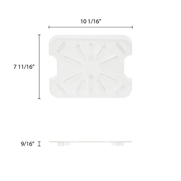 Half Size Clear Polycarbonate Food Pan Drain Shelf