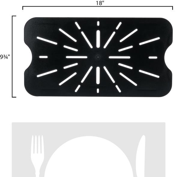 Full Size Black Polycarbonate Food Pan Drain Shelf