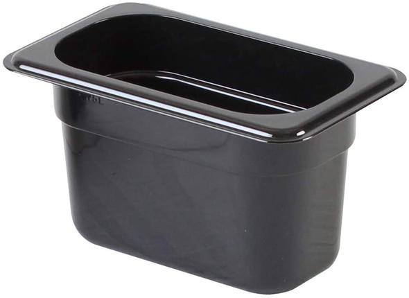 """Ninth Size Black Polycarbonate Food Pan - 4"""" Deep (PLPA8194BK)"""