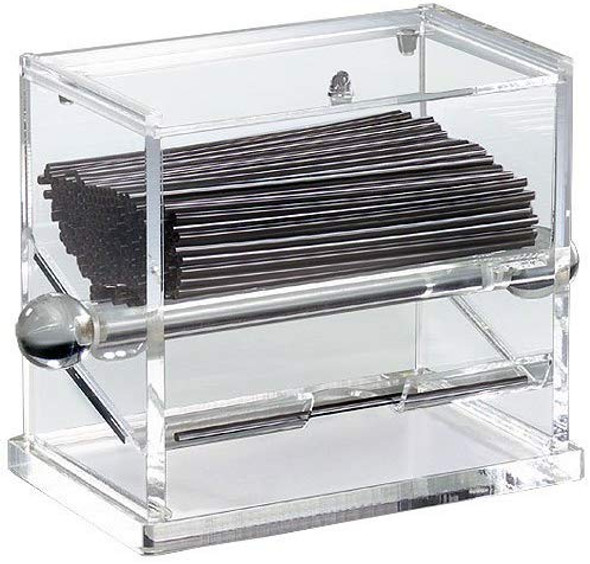 Acrylic Stirrer Dispenser (PLSD001) Unlike other storage and dispensing methods, this unit dispensers stirrers so that only their middle is touched by the customer, bartender, or other employee. This helps to greatly reduce the likelihood of cross-contamination, especially if you're currently using a jar, cup, or condiment bin for storage, allowing you to readily touch the stirrers' ends.