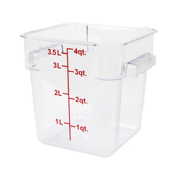 4 Qt. Clear Square Polycarbonate Food Storage Container w/ Red Gradations (PLSFT004PC)