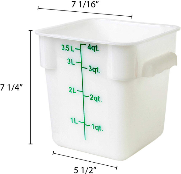 4 Qt. White Square Polycarbonate Food Storage Container w/ Color Gradations (PLSFT004PP)