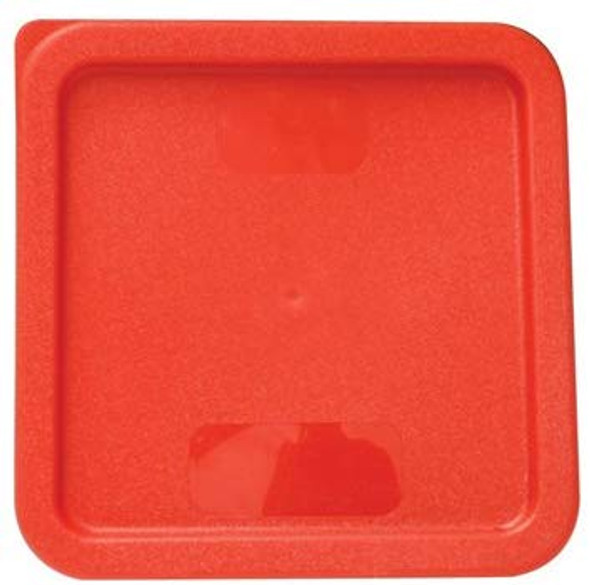 Square Polyethylene Food Storage Container Lid - Red, Fits 6 & 8 QT (PLSFT0608C)