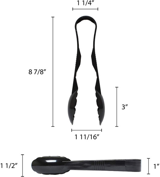 "9"" Polycarbonate Scallop Grip Tongs - Black (PLSGTG009BK)"