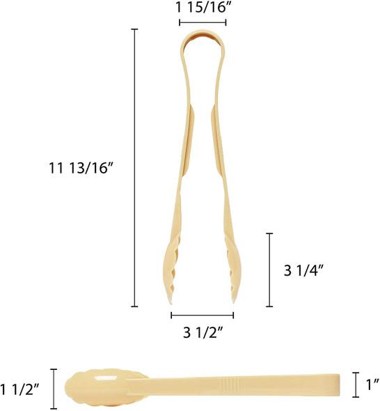 """12"""" Polycarbonate Scallop Grip Tongs - Beige (PLSGTG012BG)"""