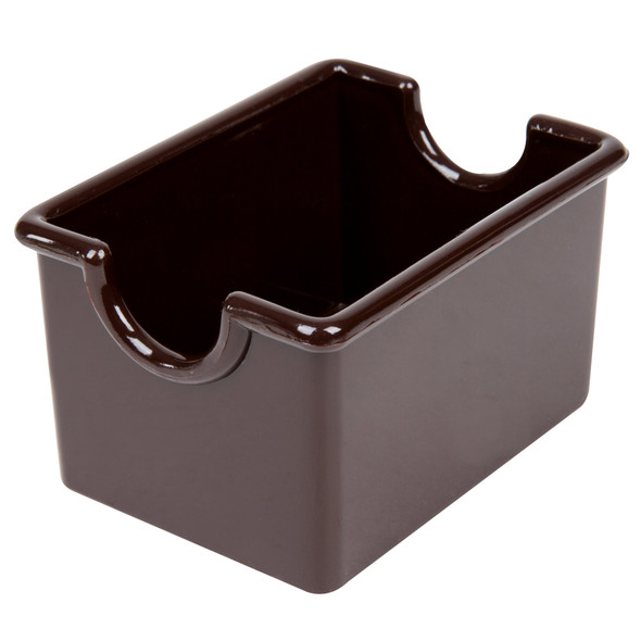 Plastic Sugar Packet Caddy - Brown (PLSP032CH) This item can safely be cleaned in a commercial dishwasher.