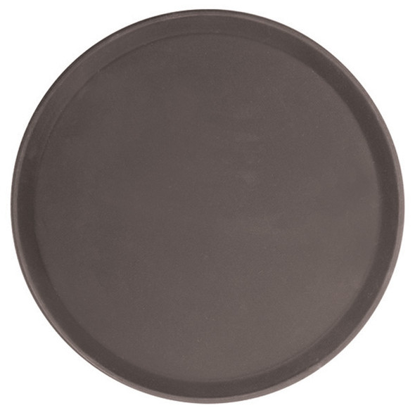 Round Polypropylene Non-Skid Serving Tray - Brown