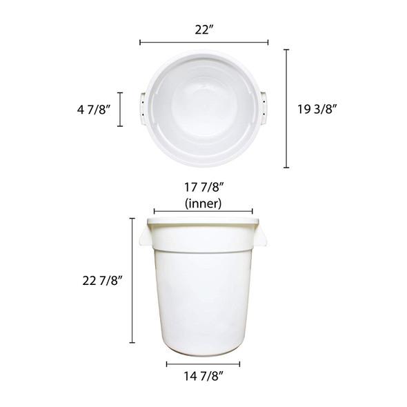 20 Gallon Polyethylene Trash Can - White (PLTC020W)
