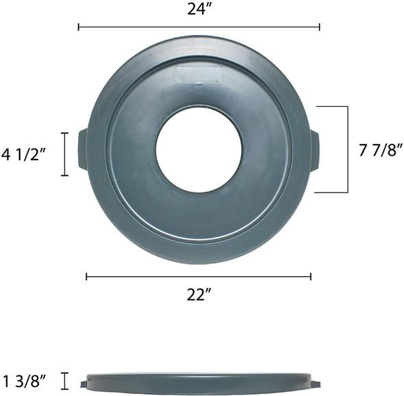 32 Gallon Polyethylene Trash Can Lid w/ Hole (PLTC032GH)