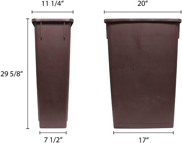 23 Gallon Slim Trash Can - Brown (PLTC023B)