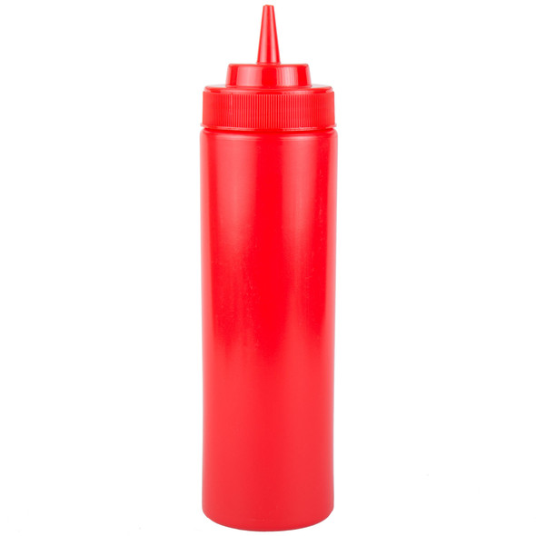 24 oz Plastic Wide Mouth Squeeze Bottles - Red (PLTHSB024RW)