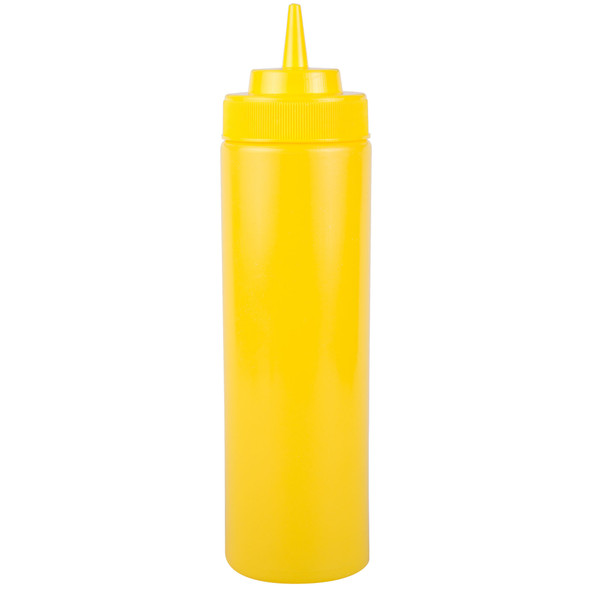 24 oz Plastic Wide Mouth Squeeze Bottles - Yellow (PLTHSB024YW)