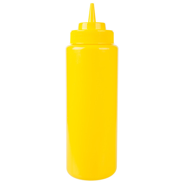 32 oz Plastic Wide Mouth Squeeze Bottles - Yellow (PLTHSB032YW)